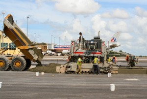 Power Pavers SF-3000 paving at Piarco International Airport in Trinidad