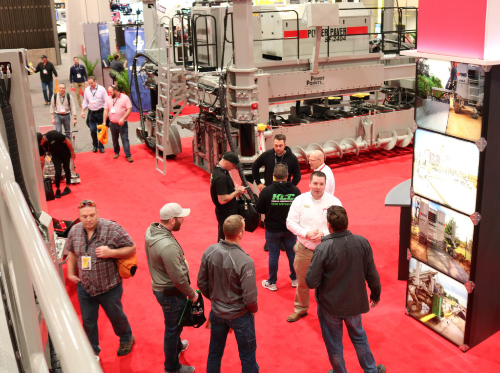 Power Curbers & Power Pavers trade show booth at World of Concrete